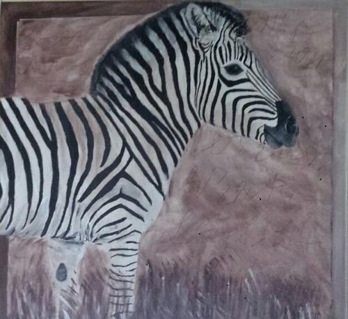Zebra - 0,40 x 0,40 m - Acryl auf Leinwand